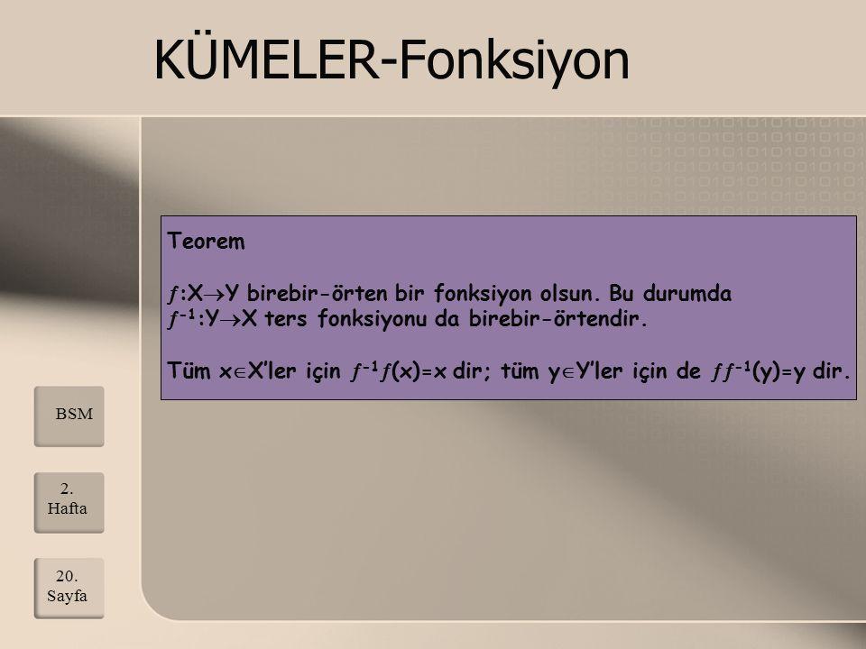 KÜMELER-Fonksiyon Teorem  :X  Y birebir-örten bir fonksiyon olsun. Bu durumda  -1 :Y  X ters fonksiyonu da birebir-örtendir. Tüm x  X'ler için 