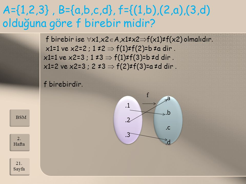 A={1,2,3}, B={a,b,c,d}, f={(1,b),(2,a),(3,d) olduğuna g ö re f birebir midir? f birebir ise  x1,x2  A,x1≠x2  f(x1)≠f(x2) olmalıdır. x1=1 ve x2=2 ;
