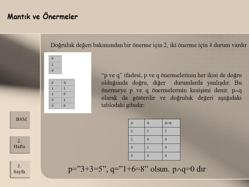 """Mantık ve Önermeler 2. Hafta 3. Sayfa BSM Doğruluk değeri bakımından bir önerme için 2, iki önerme için 4 durum vardır """"p ve q"""" ifadesi, p ve q önerme"""