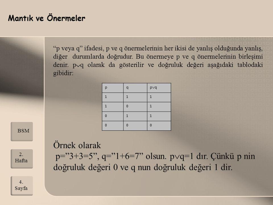 """Mantık ve Önermeler 2. Hafta 4. Sayfa BSM """"p veya q"""" ifadesi, p ve q önermelerinin her ikisi de yanlış olduğunda yanlış, diğer durumlarda doğrudur. Bu"""
