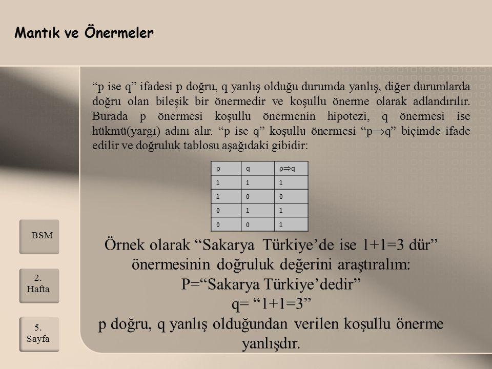 """Mantık ve Önermeler 2. Hafta 5. Sayfa BSM """"p ise q"""" ifadesi p doğru, q yanlış olduğu durumda yanlış, diğer durumlarda doğru olan bileşik bir önermedir"""