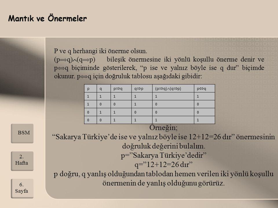 Mantık ve Önermeler 2. Hafta 6. Sayfa BSM P ve q herhangi iki önerme olsun. (p  q)  (q  p) bileşik önermesine iki yönlü koşullu önerme denir ve p 