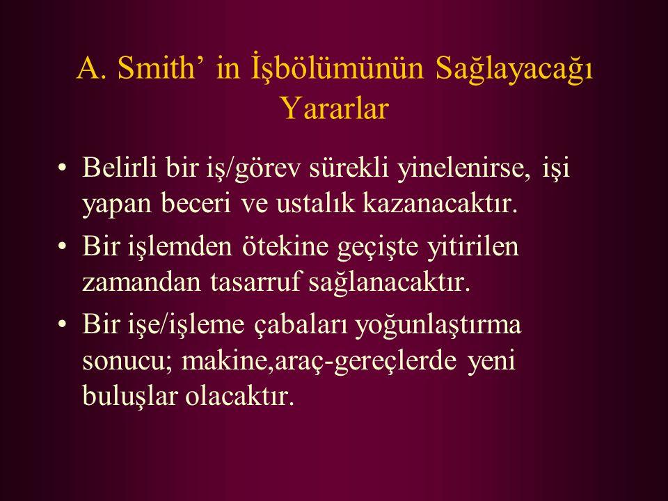 A. Smith' in İşbölümünün Sağlayacağı Yararlar Belirli bir iş/görev sürekli yinelenirse, işi yapan beceri ve ustalık kazanacaktır. Bir işlemden ötekine