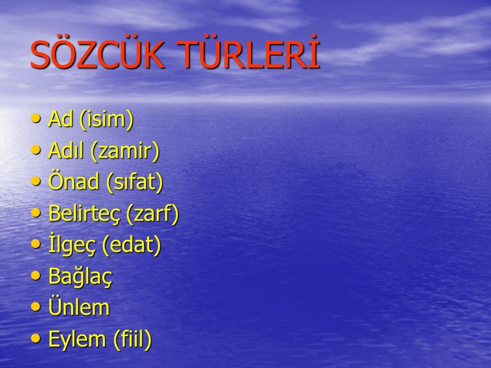 AD (İSİM) VARLIKLARA VERİLİŞLERİNE GÖRE VARLIKLARA VERİLİŞLERİNE GÖRE –Tür Adı: şehir, deniz, dergi, şair –Özel Ad: İstanbul, Akdeniz, Zirve, Orhan Veli VARLIKLARIN OLUŞLARINA GÖRE VARLIKLARIN OLUŞLARINA GÖRE –Somut Ad: dağ, güneş, rüzgâr, soğuk,ışık, taş –Soyut Ad: akıl, aşk, korku, güzel, rüya, sevgi VARLIKLARIN SAYILARINA GÖRE VARLIKLARIN SAYILARINA GÖRE –Tekil Ad: ağaç, koyun, asker, öğrenci –Çoğul Ad: ağaçlar, koyunlar, askerler, öğrenciler –Topluk Adı: orman, sürü, ordu, okul, sınıf Sınıf bugün pikniğe gidecek.
