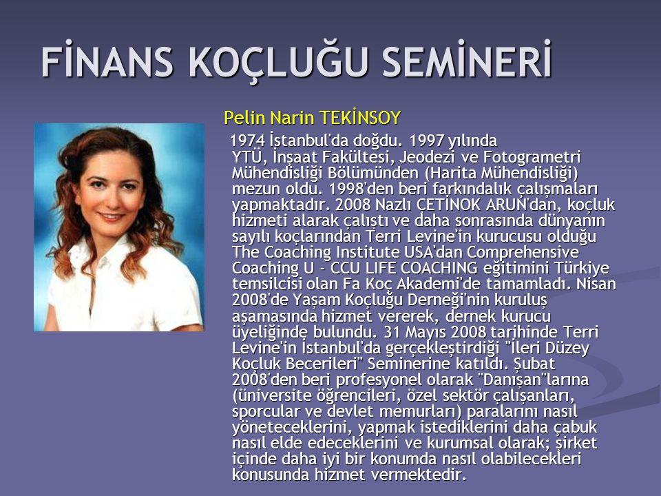 Pelin Narin TEKİNSOY Pelin Narin TEKİNSOY 1974 İstanbul'da doğdu. 1997 yılında YTÜ, İnşaat Fakültesi, Jeodezi ve Fotogrametri Mühendisliği Bölümünden