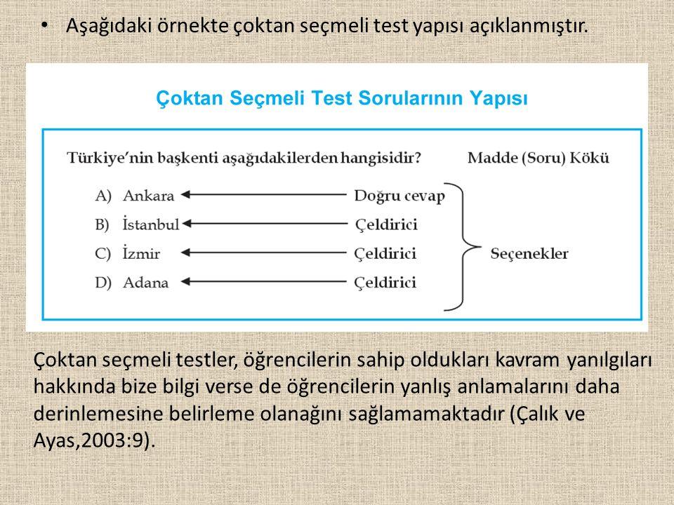 Aşağıdaki örnekte çoktan seçmeli test yapısı açıklanmıştır. Çoktan seçmeli testler, öğrencilerin sahip oldukları kavram yanılgıları hakkında bize bilg