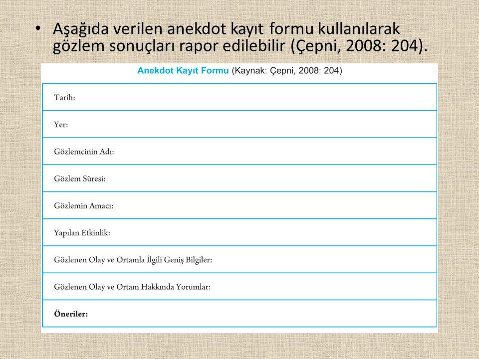 Aşağıda verilen anekdot kayıt formu kullanılarak gözlem sonuçları rapor edilebilir (Çepni, 2008: 204).