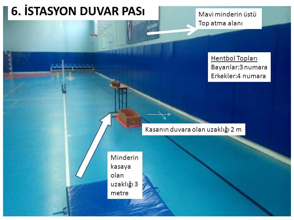 Minderin kasaya olan uzaklığı 3 metre 6. İSTASYON DUVAR PASı Kasanın duvara olan uzaklığı 2 m Mavi minderin üstü Top atma alanı Hentbol Topları Bayanl