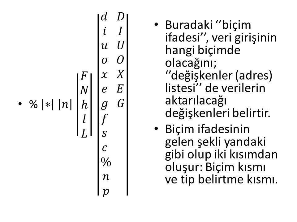 Buradaki ''biçim ifadesi'', veri girişinin hangi biçimde olacağını; ''değişkenler (adres) listesi'' de verilerin aktarılacağı değişkenleri belirtir.