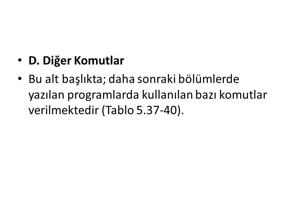 D. Diğer Komutlar Bu alt başlıkta; daha sonraki bölümlerde yazılan programlarda kullanılan bazı komutlar verilmektedir (Tablo 5.37-40).