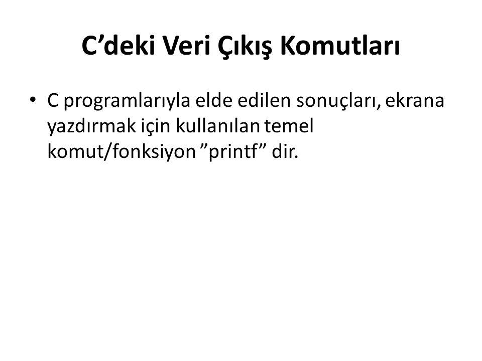 C'deki Veri Çıkış Komutları C programlarıyla elde edilen sonuçları, ekrana yazdırmak için kullanılan temel komut/fonksiyon printf dir.