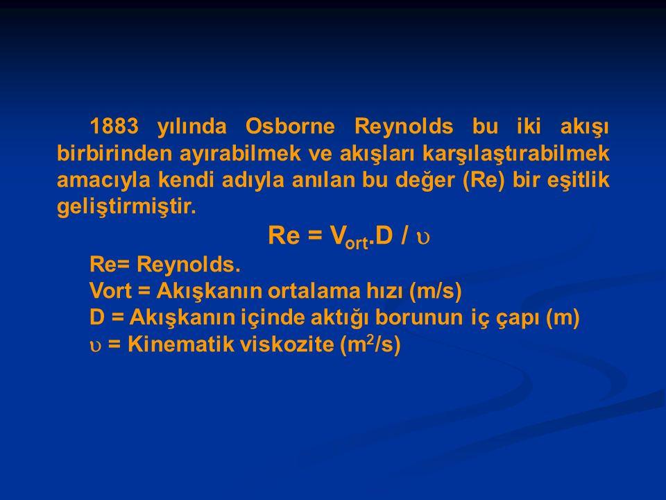 1883 yılında Osborne Reynolds bu iki akışı birbirinden ayırabilmek ve akışları karşılaştırabilmek amacıyla kendi adıyla anılan bu değer (Re) bir eşitl