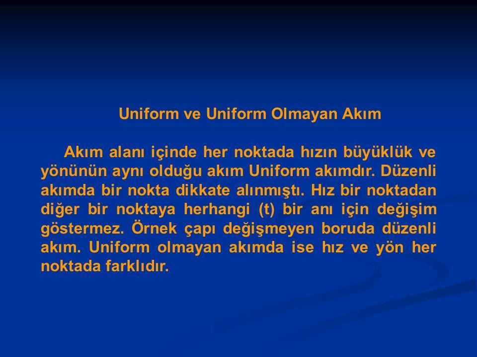 Uniform ve Uniform Olmayan Akım Akım alanı içinde her noktada hızın büyüklük ve yönünün aynı olduğu akım Uniform akımdır. Düzenli akımda bir nokta dik
