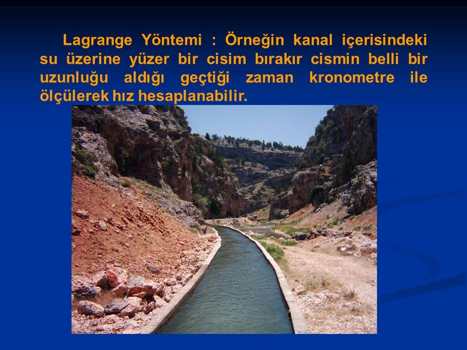 Lagrange Yöntemi : Örneğin kanal içerisindeki su üzerine yüzer bir cisim bırakır cismin belli bir uzunluğu aldığı geçtiği zaman kronometre ile ölçülerek hız hesaplanabilir.