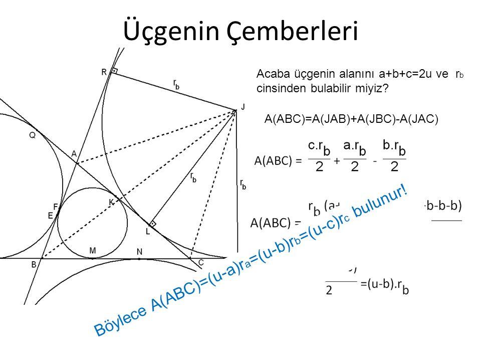 Üçgenin Çemberleri Acaba üçgenin alanını a+b+c=2u ve r b cinsinden bulabilir miyiz? A(ABC)=A(JAB)+A(JBC)-A(JAC) Böylece A(ABC)=(u-a)r a =(u-b)r b =(u-
