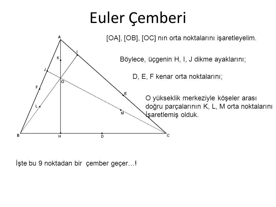 Euler Çemberi Böylece, üçgenin H, I, J dikme ayaklarını; D, E, F kenar orta noktalarını; [OA], [OB], [OC] nın orta noktalarını işaretleyelim. O yüksek