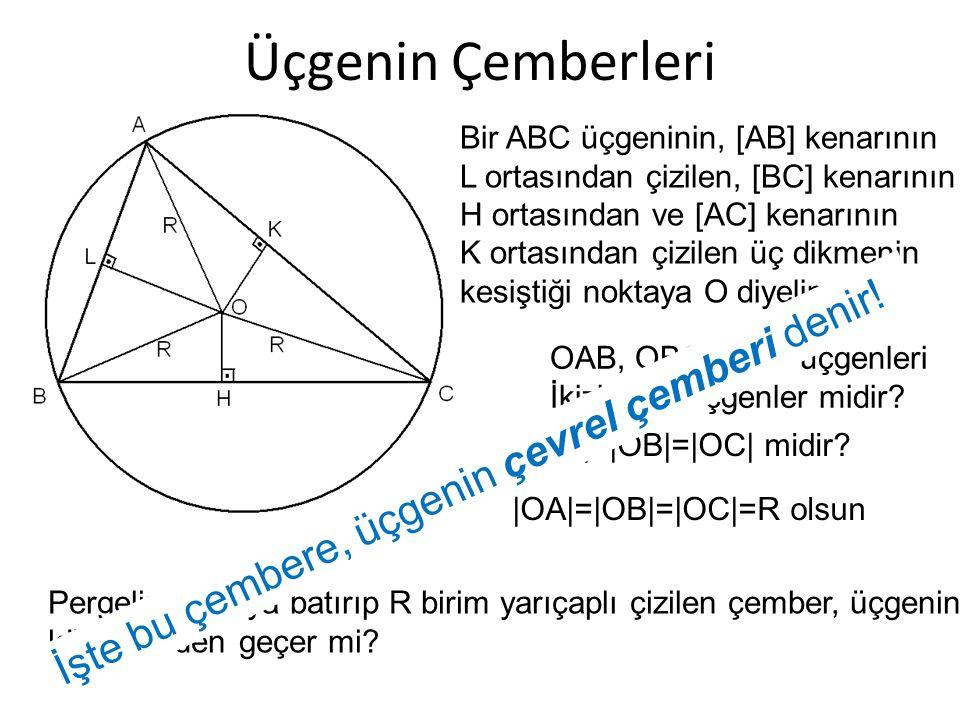Üçgenin Çemberleri Bir ABC üçgeninin, [AB] kenarının L ortasından çizilen, [BC] kenarının H ortasından ve [AC] kenarının K ortasından çizilen üç dikme