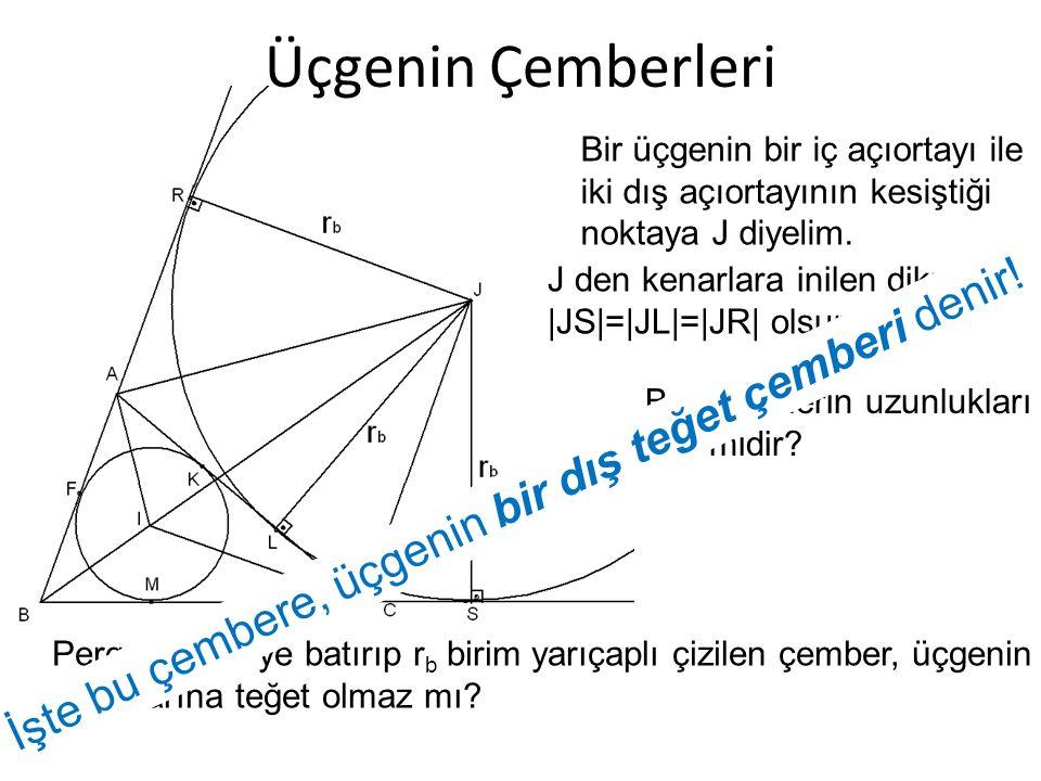 Üçgenin Çemberleri Bir üçgenin bir iç açıortayı ile iki dış açıortayının kesiştiği noktaya J diyelim. J den kenarlara inilen dikmeler |JS|=|JL|=|JR| o