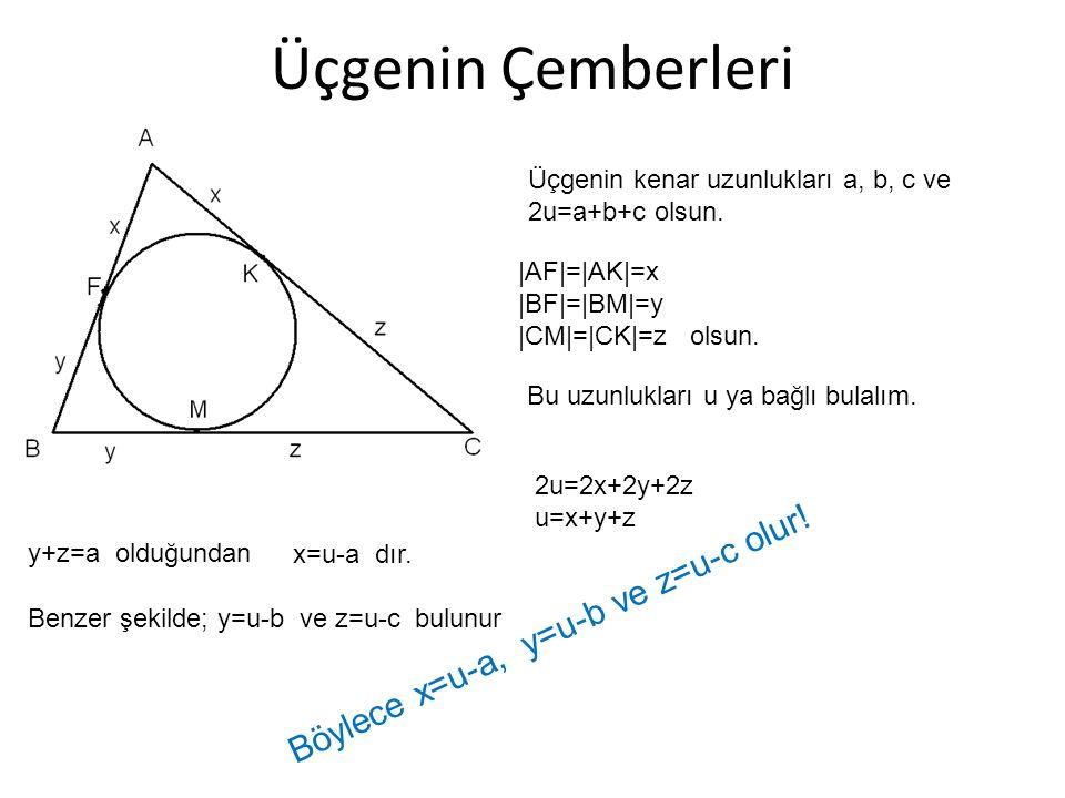 Üçgenin Çemberleri Üçgenin kenar uzunlukları a, b, c ve 2u=a+b+c olsun. |AF|=|AK|=x |BF|=|BM|=y |CM|=|CK|=z olsun. Bu uzunlukları u ya bağlı bulalım.