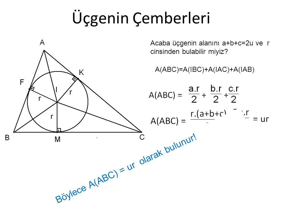 Üçgenin Çemberleri Acaba üçgenin alanını a+b+c=2u ve r cinsinden bulabilir miyiz? A(ABC)=A(IBC)+A(IAC)+A(IAB) Böylece A(ABC) = ur olarak bulunur!