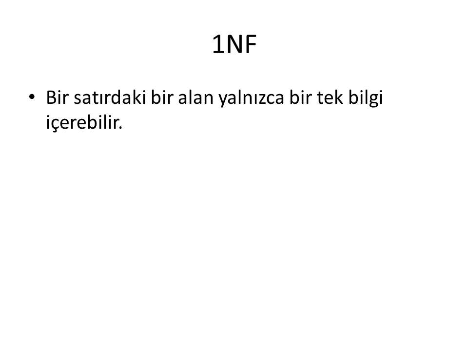 1NF Bir satırdaki bir alan yalnızca bir tek bilgi içerebilir.