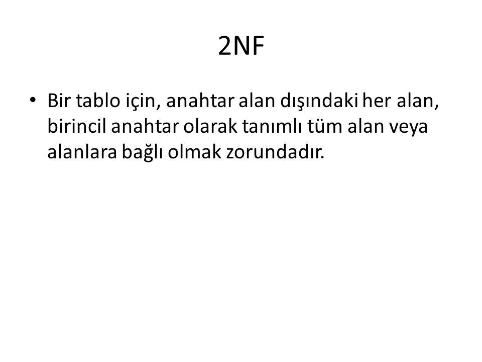 2NF Bir tablo için, anahtar alan dışındaki her alan, birincil anahtar olarak tanımlı tüm alan veya alanlara bağlı olmak zorundadır.