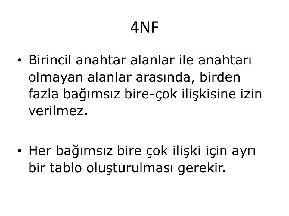 4NF Birincil anahtar alanlar ile anahtarı olmayan alanlar arasında, birden fazla bağımsız bire-çok ilişkisine izin verilmez. Her bağımsız bire çok ili