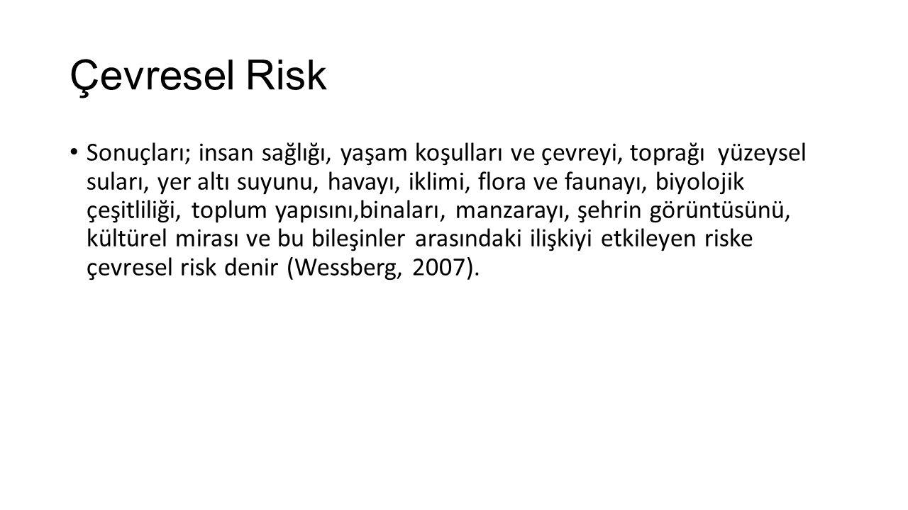 Çevresel Risk Sonuçları; insan sağlığı, yaşam koşulları ve çevreyi, toprağı yüzeysel suları, yer altı suyunu, havayı, iklimi, flora ve faunayı, biyolojik çeşitliliği, toplum yapısını,binaları, manzarayı, şehrin görüntüsünü, kültürel mirası ve bu bileşinler arasındaki ilişkiyi etkileyen riske çevresel risk denir (Wessberg, 2007).