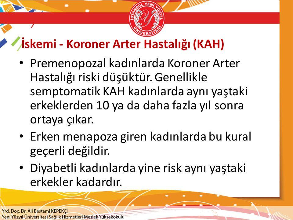 İskemi - Koroner Arter Hastalığı (KAH) Premenopozal kadınlarda Koroner Arter Hastalığı riski düşüktür.