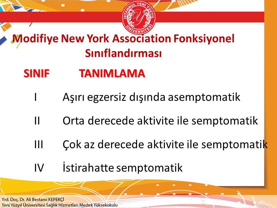 Modifiye New York Association Fonksiyonel Sınıflandırması SINIFTANIMLAMA I Aşırı egzersiz dışında asemptomatik II Orta derecede aktivite ile semptomatik III Çok az derecede aktivite ile semptomatik IV İstirahatte semptomatik