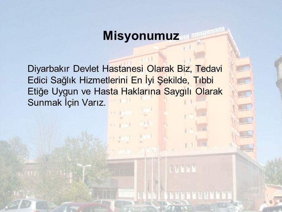 Misyonumuz Diyarbakır Devlet Hastanesi Olarak Biz, Tedavi Edici Sağlık Hizmetlerini En İyi Şekilde, Tıbbi Etiğe Uygun ve Hasta Haklarına Saygılı Olarak Sunmak İçin Varız.