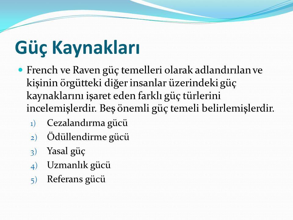 Güç Kaynakları French ve Raven güç temelleri olarak adlandırılan ve kişinin örgütteki diğer insanlar üzerindeki güç kaynaklarını işaret eden farklı güç türlerini incelemişlerdir.