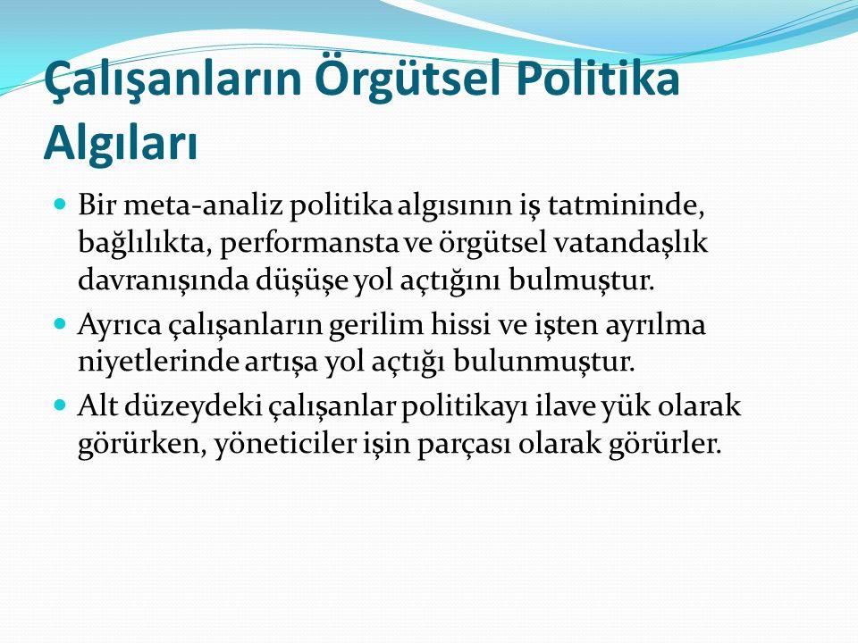 Çalışanların Örgütsel Politika Algıları Bir meta-analiz politika algısının iş tatmininde, bağlılıkta, performansta ve örgütsel vatandaşlık davranışında düşüşe yol açtığını bulmuştur.
