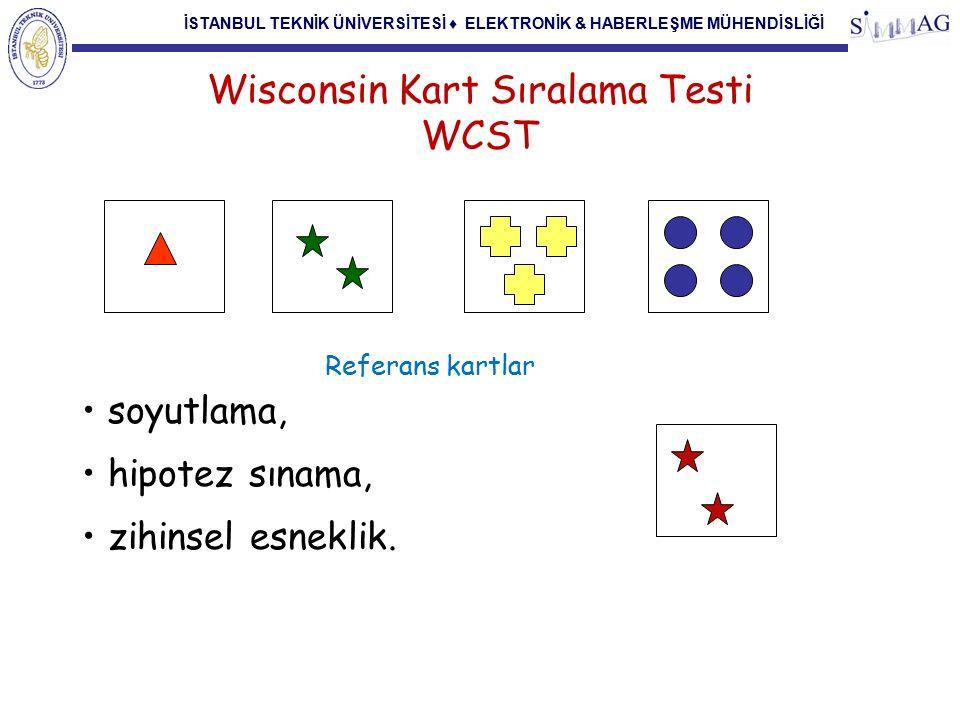 İSTANBUL TEKNİK ÜNİVERSİTESİ ♦ ELEKTRONİK & HABERLEŞME MÜHENDİSLİĞİ WCST-Testin Değerlendirilmesi Doğru yanıtlar Tamamlanan kategoriler Perseveratif (ısrarcı) yanıtlar Kurulumu sürdürmede başarısızlık (FMS)