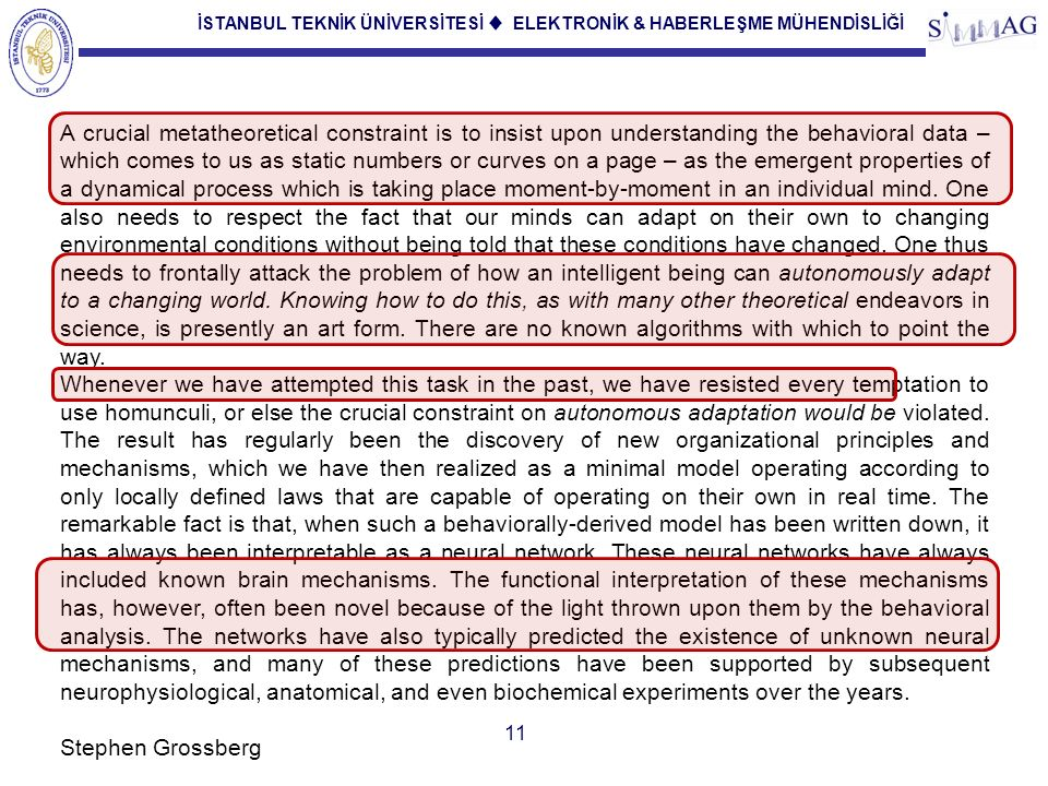İSTANBUL TEKNİK ÜNİVERSİTESİ ♦ ELEKTRONİK & HABERLEŞME MÜHENDİSLİĞİ 11 A crucial metatheoretical constraint is to insist upon understanding the behavi