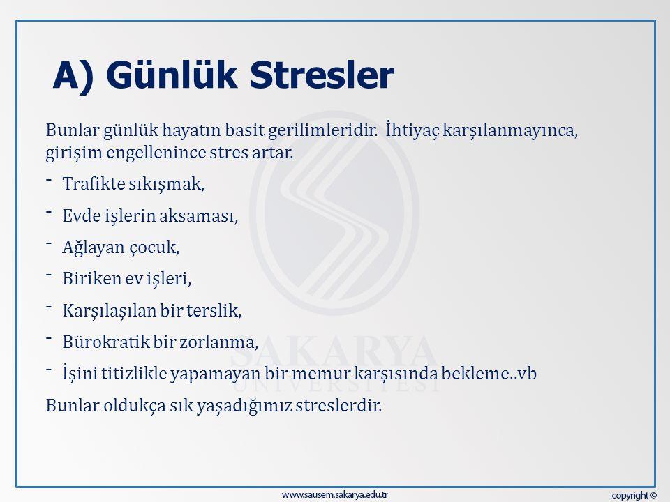 A) Günlük Stresler Bunlar günlük hayatın basit gerilimleridir. İhtiyaç karşılanmayınca, girişim engellenince stres artar. ⁻ Trafikte sıkışmak, ⁻ Evde