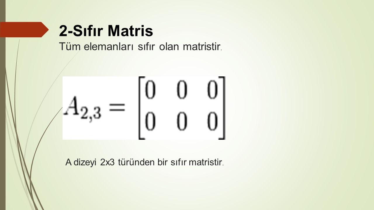 2-Sıfır Matris Tüm elemanları sıfır olan matristir. A dizeyi 2x3 türünden bir sıfır matristir.