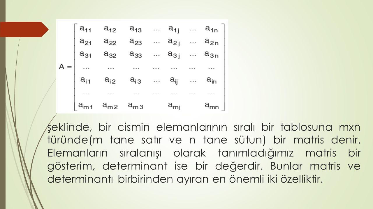 şeklinde, bir cismin elemanlarının sıralı bir tablosuna mxn türünde(m tane satır ve n tane sütun) bir matris denir. Elemanların sıralanışı olarak tanı