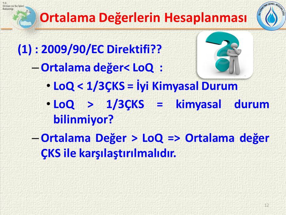 Ortalama Değerlerin Hesaplanması (1) : 2009/90/EC Direktifi .