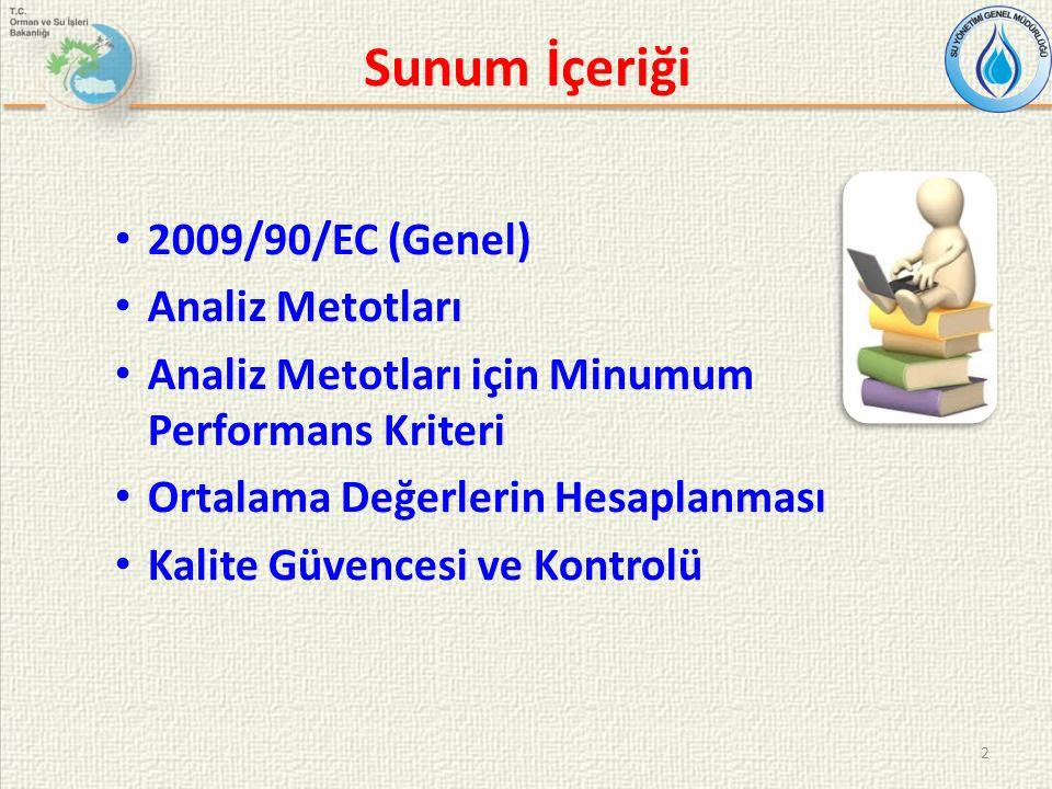 Sunum İçeriği 2 2009/90/EC (Genel) Analiz Metotları Analiz Metotları için Minumum Performans Kriteri Ortalama Değerlerin Hesaplanması Kalite Güvencesi ve Kontrolü