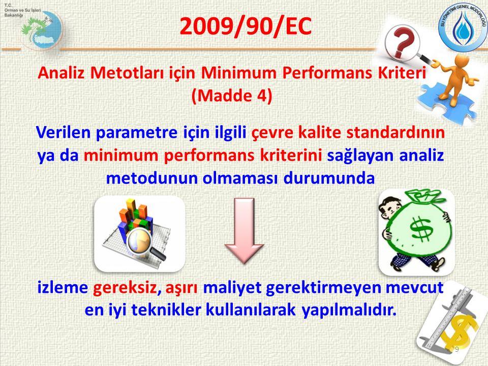 Analiz Metotları için Minimum Performans Kriteri (Madde 4) Verilen parametre için ilgili çevre kalite standardının ya da minimum performans kriterini sağlayan analiz metodunun olmaması durumunda izleme gereksiz, aşırı maliyet gerektirmeyen mevcut en iyi teknikler kullanılarak yapılmalıdır.