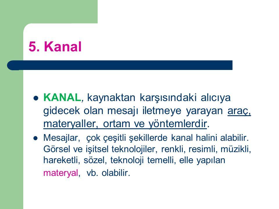 5. Kanal KANAL, kaynaktan karşısındaki alıcıya gidecek olan mesajı iletmeye yarayan araç, materyaller, ortam ve yöntemlerdir. Mesajlar, çok çeşitli şe