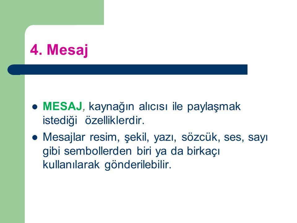 4. Mesaj MESAJ, kaynağın alıcısı ile paylaşmak istediği özelliklerdir. Mesajlar resim, şekil, yazı, sözcük, ses, sayı gibi sembollerden biri ya da bir