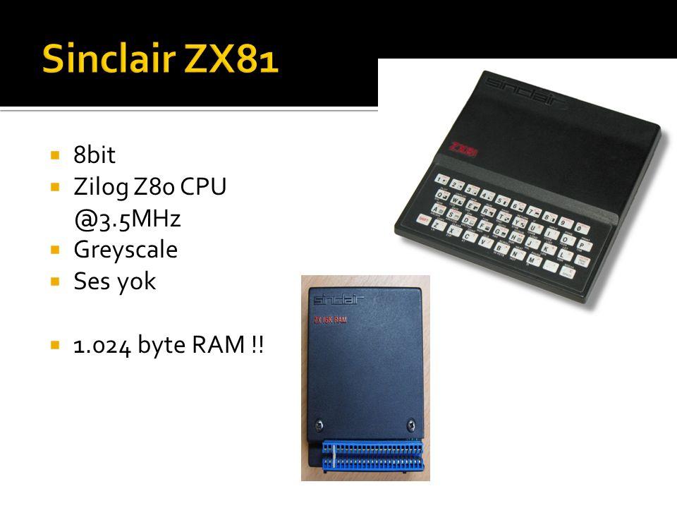  8bit  Zilog Z80 CPU @3.5MHz  Greyscale  Ses yok  1.024 byte RAM !!