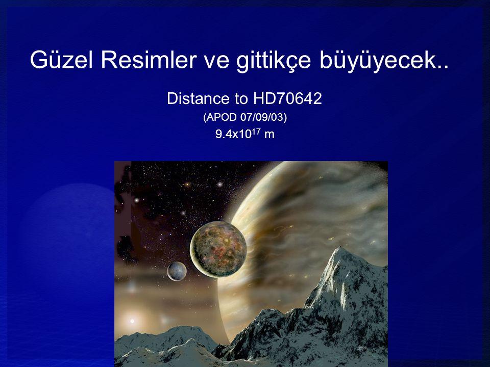 Güzel Resimler ve gittikçe büyüyecek.. Distance to HD70642 (APOD 07/09/03) 9.4x10 17 m