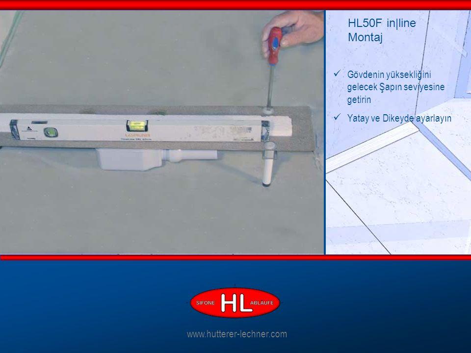 Gövdenin yüksekliğini gelecek Şapın seviyesine getirin Yatay ve Dikeyde ayarlayın HL50F in|line Montaj www.hutterer-lechner.com