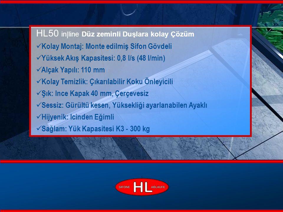 www.hutterer-lechner.com HL50 in|line HL InLine Paslanmaz Çelik Duş Olukları 600 ile 2100 mm arası mevcutdur ve Özel Siparişlerde iki Sifon Gövdeli (1,4 l/s) üretilir.