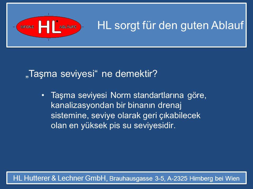 HL sorgt für den guten Ablauf HL Hutterer & Lechner GmbH, Brauhausgasse 3-5, A-2325 Himberg bei Wien Sadece taşma seviyesinin alt ında olan hatlar, Norm standardına uyumlu olan ç ekvalfler ile korunmalıdır.