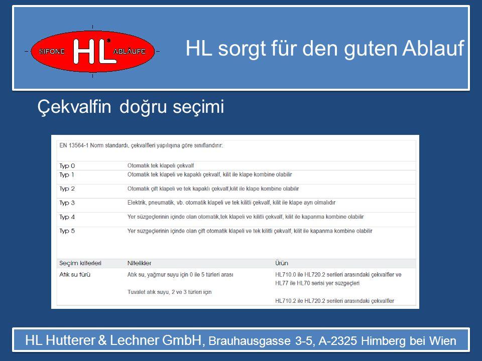 HL sorgt für den guten Ablauf HL Hutterer & Lechner GmbH, Brauhausgasse 3-5, A-2325 Himberg bei Wien Ürün Listesi