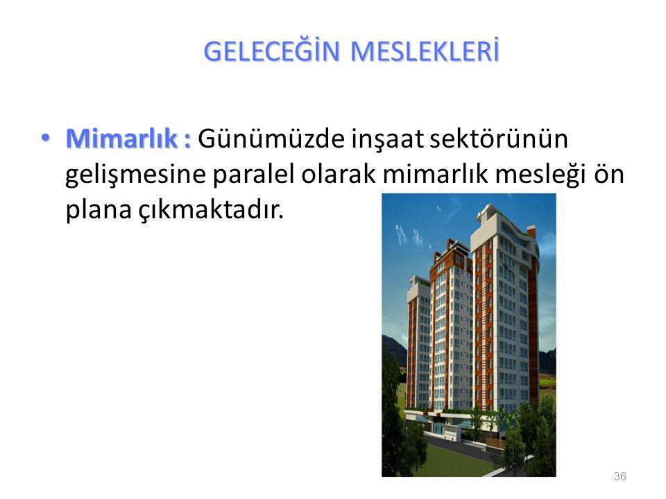 Mimarlık : Mimarlık : Günümüzde inşaat sektörünün gelişmesine paralel olarak mimarlık mesleği ön plana çıkmaktadır. 36